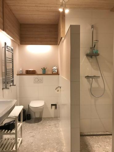 Badkamer in de kamer met twin bedden