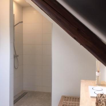 Badkamer Appelbergen met inloopdouche, toilet, wastafel en vloerverwarming